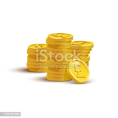 Gold coins with pound sign flat vector illustration. Savings, investment symbol. Currency of UK, foreign money. Financial growth concept. Stack of golden coins isolated on white background