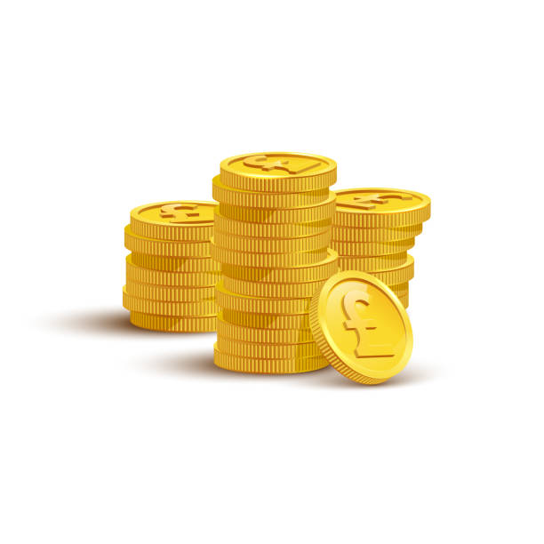 gold coins with pound sign flat vector illustration - британская валюта stock illustrations