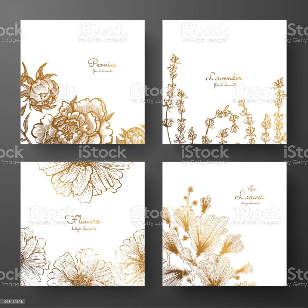 Colección de oro de diseño de tarjetas con peonías, lavanda, manzanilla y hojas de ginkgo biloba. Estructura de la plantilla de cumpleaños y tarjetas de felicitación, invitación, volantes, diseño de paquete. - ilustración de arte vectorial