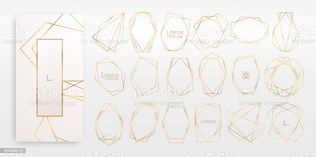 Gold collection of geometrical polyhedron, art deco style, luxury templates.