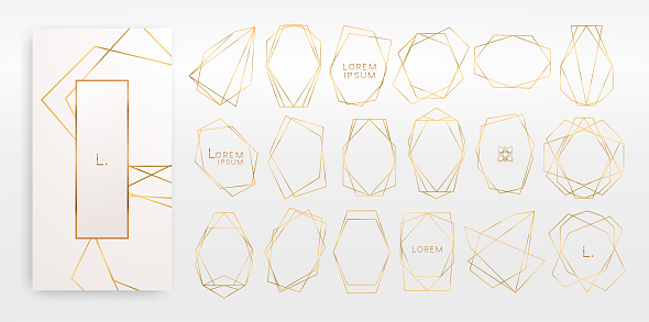 Gold collection of geometrical polyhedron, art deco style, luxury templates. clipart