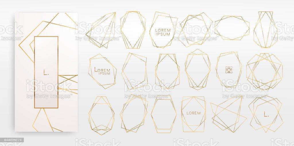 Coleção de ouro de poliedro geométrico, estilo art deco, modelos de luxo. - ilustração de arte em vetor