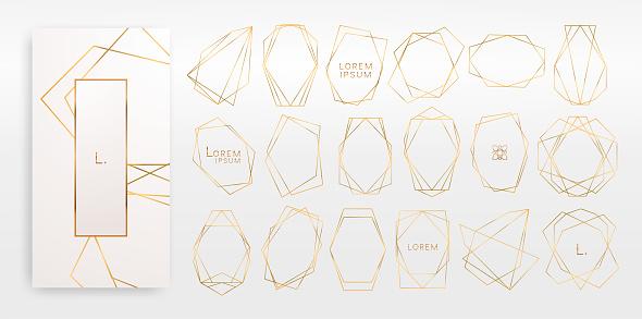 黃金收集幾何多面體 藝術裝飾風格 豪華範本向量圖形及更多一組物體圖片