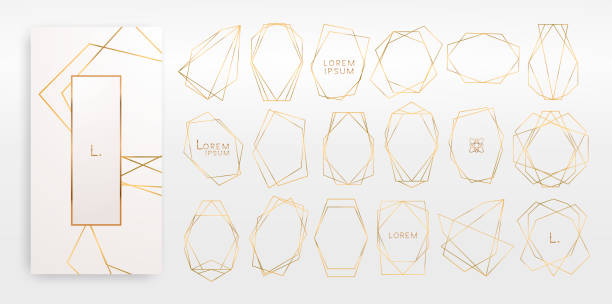 Gold collection of geometrical polyhedron, art deco style, luxury templates. Gold collection of geometrical polyhedron, art deco style for wedding invitation, luxury templates, decorative patterns,... Modern abstract elements, vector illustration, isolated on backgrounds. celebrities stock illustrations