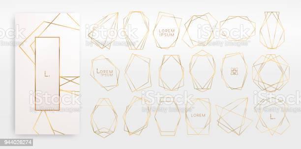 Gold Collection Of Geometrical Polyhedron Art Deco Style Luxury Templates - Stockowe grafiki wektorowe i więcej obrazów Abstrakcja