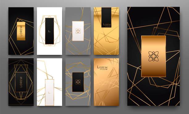 Colección de oro de poliedro geométrico, estilo art decó, plantillas de lujo. - ilustración de arte vectorial