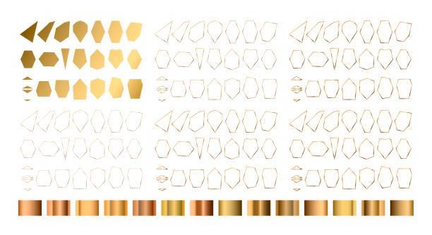 gold-sammlung von geometrischem polyeder, art-deco-stil - gartenfolie stock-grafiken, -clipart, -cartoons und -symbole