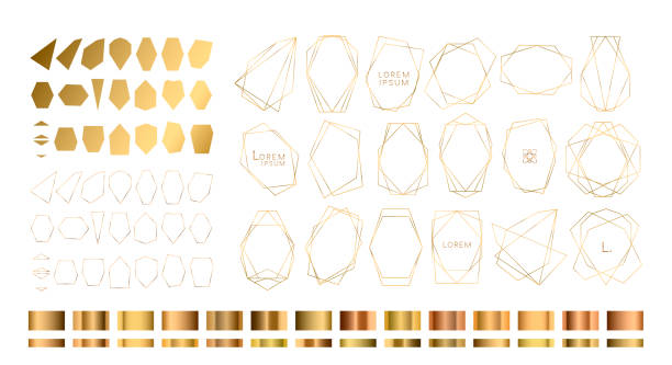 Colección de oro de poliedro geométrico, estilo Art Déco - ilustración de arte vectorial