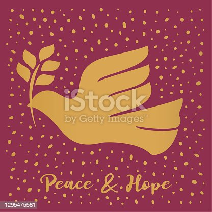 istock Gold color dove of peace - Red background - Square format 1295475581