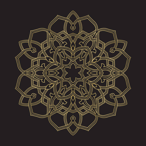 illustrazioni stock, clip art, cartoni animati e icone di tendenza di gold color round abstract ethnic ornament mandala - arabia