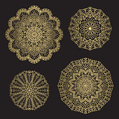 Gold color round abstract ethnic ornament mandalas.For textile, invitations, banners and other