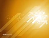 Vector of white direction arrow pattern and glowing lights abstract theme with gold colored background. This illustration is an EPS 10 file and contains transparency effects.