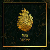 Gold Colored Christmas Greeting Card. Hand Drawn Pinecone wtih Green Marble Texture with Gold Veins. Christmas and New Year Greeting Card Background Template, Christmas Present Wrapping Paper.