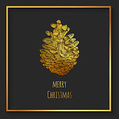 Gold Colored Christmas Greeting Card with Hand Drawn Pinecone. Christmas and New Year Greeting Card Background Template, Christmas Present Wrapping Paper.