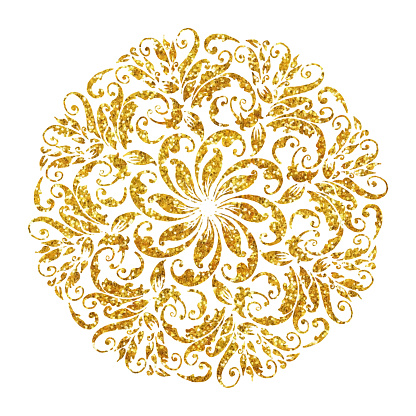 Gold Colored Hand Painted Floral Mandala. Arabic Style Pattern. Vector Tile Pattern, Lisbon Arabic Floral Mosaic, Mediterranean Gold Colored Ornament.