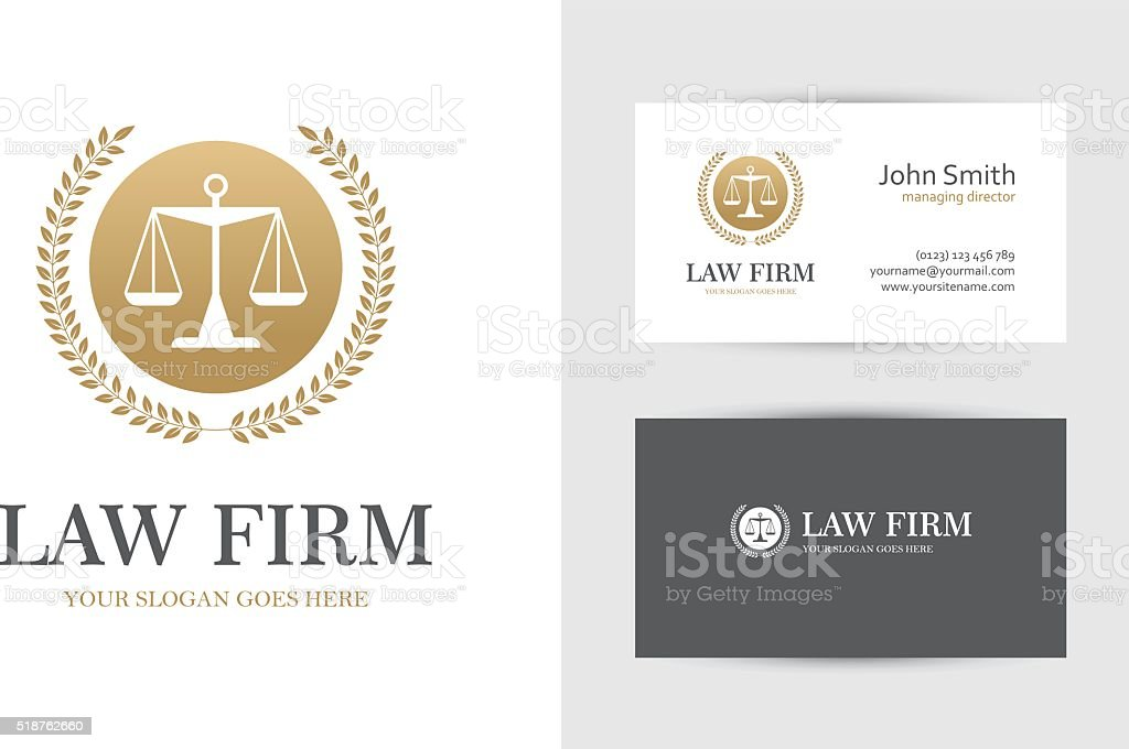Gold colored law symbol with scales vector art illustration