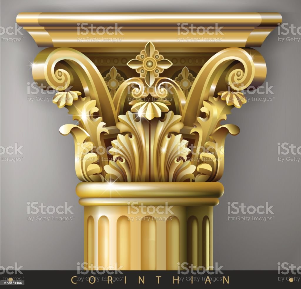 Gold column vector art illustration
