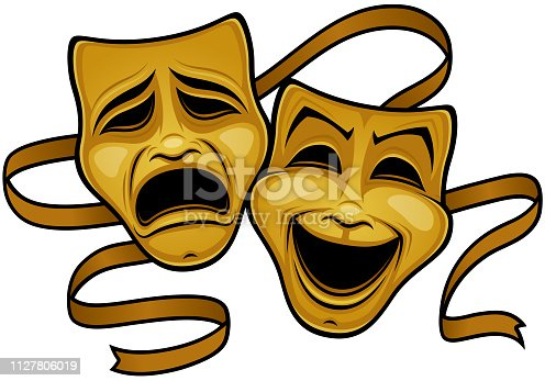 Vector illustration of gold comedy and tragedy theater masks with a gold ribbon. Tags: acting, actor, cinema, comedy, drama, film, frown, grief, happy, humor, joy, laugh, mask, movies, performance, sad, theater, tragedy, smile, theatre, dinner, live, gold, metal