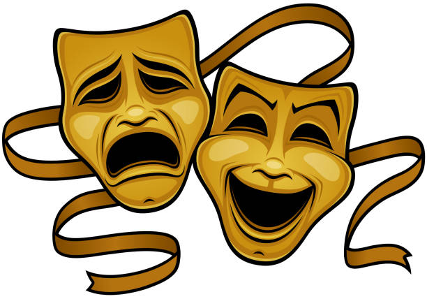 Gold Comedy And Tragedy Theater Masks vector art illustration