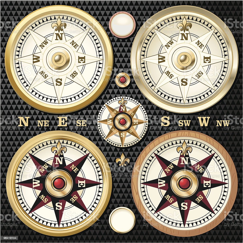 Gold Compass - Black vector art illustration