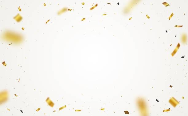 金の紙吹雪の背景、透明な背景に分離 - 紙吹雪点のイラスト素材/クリップアート素材/マンガ素材/アイコン素材