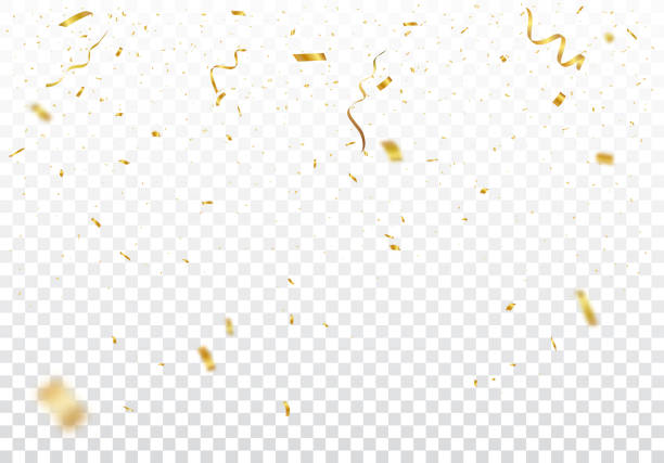 ilustrações de stock, clip art, desenhos animados e ícones de gold confetti background, isolated on transparent background - confete