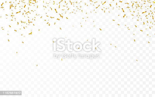 Gold confetti. Celebration carnival ribbons. Luxury greeting card. Vector illustration.