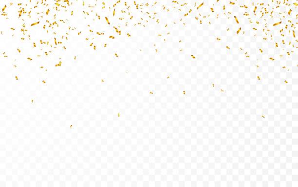 stockillustraties, clipart, cartoons en iconen met goud confetti. viering carnaval linten. luxe wenskaart. vector illustratie - confetti