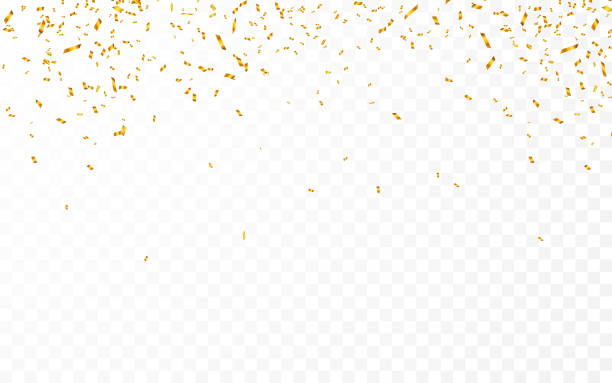 gold confetti. celebration carnival ribbons. luxury greeting card. vector illustration - confetti stock illustrations
