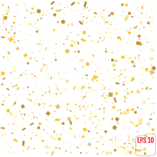 Gold confetti celebration isolated on white background. Falling golden abstract decoration for party, birthday celebrate, anniversary or Christmas, New Year. Festival decor Vector illustration vector art illustration