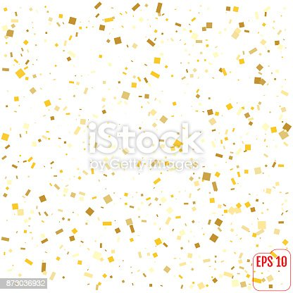 Gold Confetti Celebration Isolated On White Background