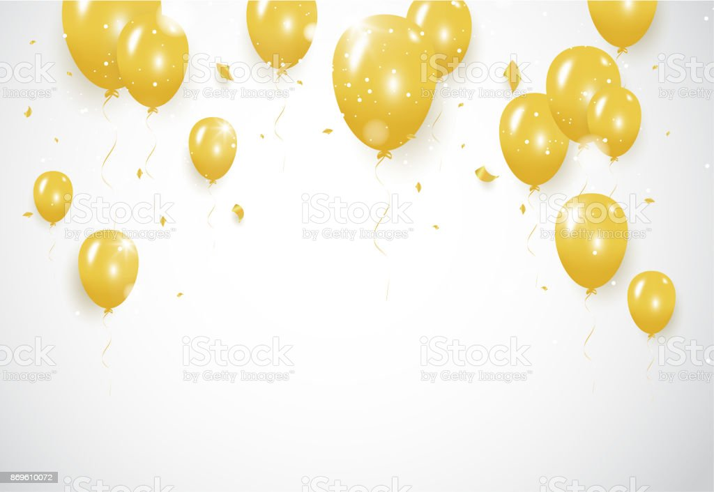 Gold confetti celebration party banner with Gold balloons background....