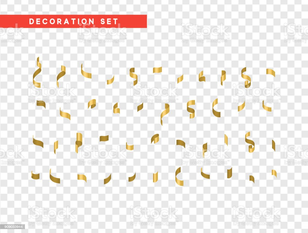 Gold confetti celebration. Ribbon serpentine, isolated with transparency background effect vector art illustration