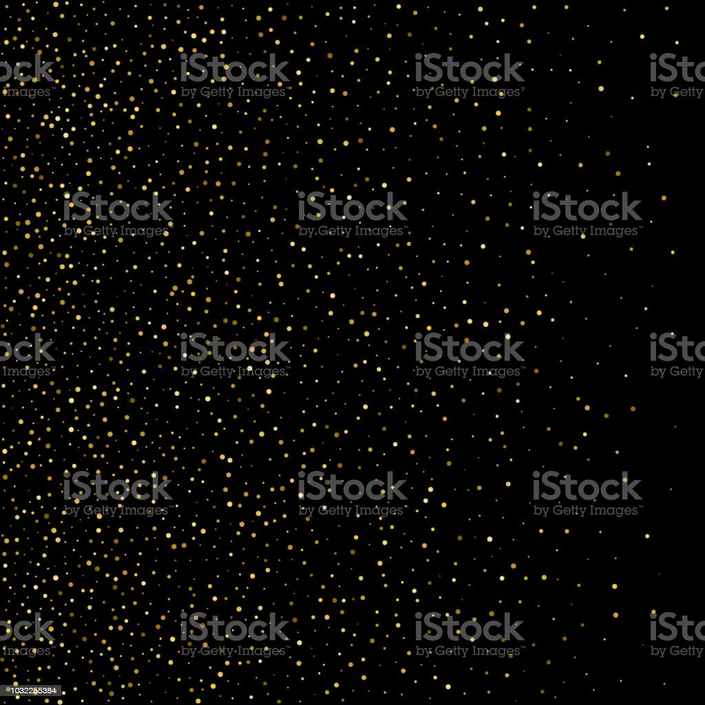Gold confetti circle decoration for christmas or birthday card background, holiday vector illustration. Gold color round confetti dots, circles chaotic scatter on black, trendy rich bokeh background. vector art illustration