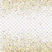 Gold confetti on a transparent background, frame of gold confetti