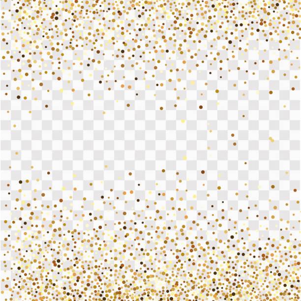 şeffaf bir arka plan üzerinde altın konfeti, altın konfeti çerçeve - confetti stock illustrations