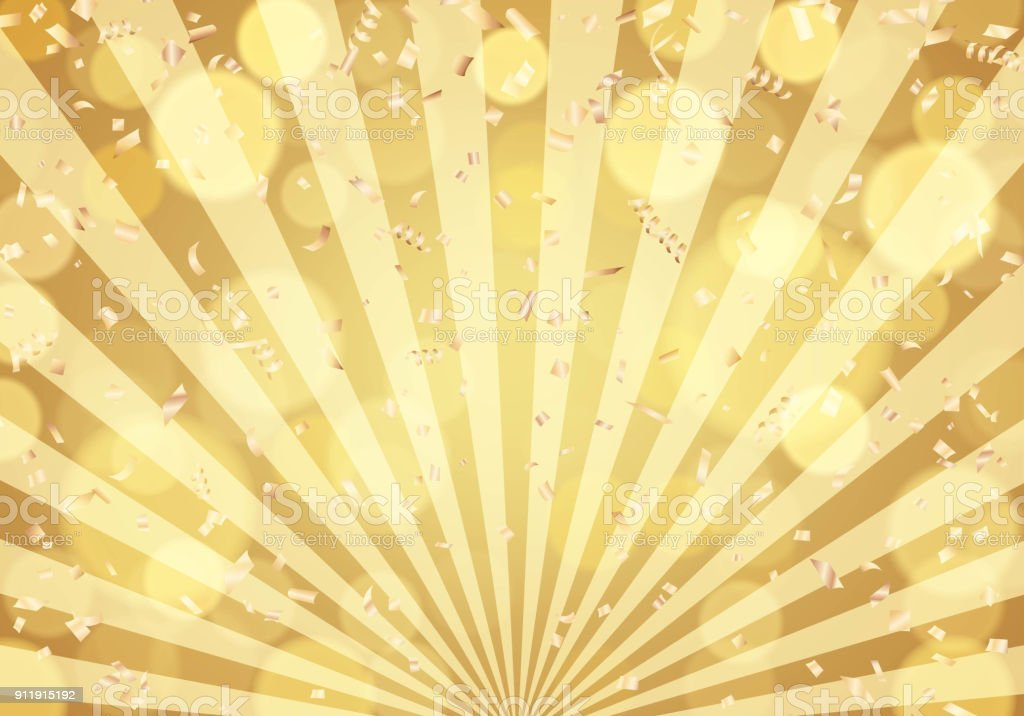 Gold confetti on golden sunburst background vector art illustration
