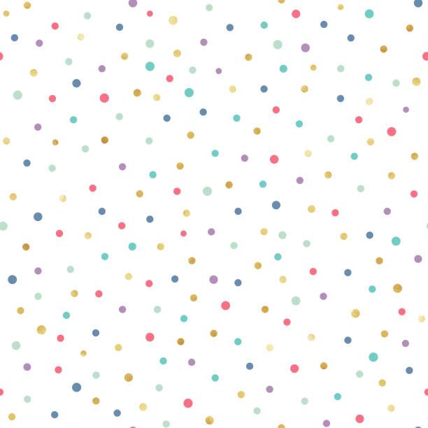 gold confetti seamless pattern - kropkowany stock illustrations