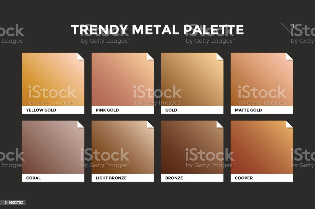 Gold, copper and bronze gradient template vector art illustration