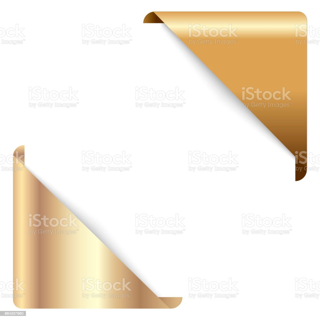 Gold corner ribbon, corner Banner, vector tag isolated on background.