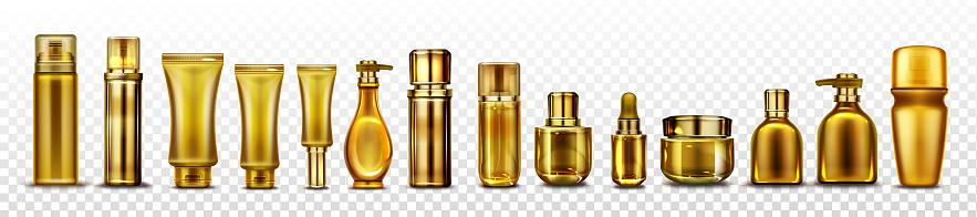 Gold cosmetic bottles mockup, cosmetics tubes set