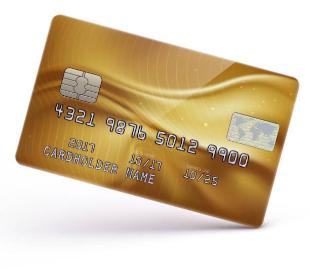 Gold credit card vector art illustration
