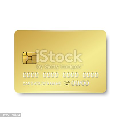 istock Gold credit plastic card with emv chip. Mock up. Vector 1227076474