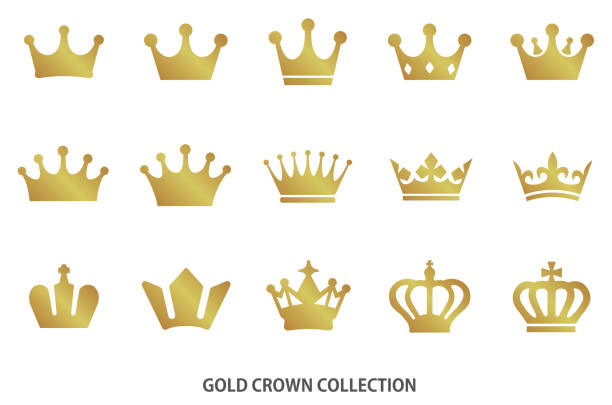 Gold crown icon collection Gold crown icon collection crown headwear stock illustrations