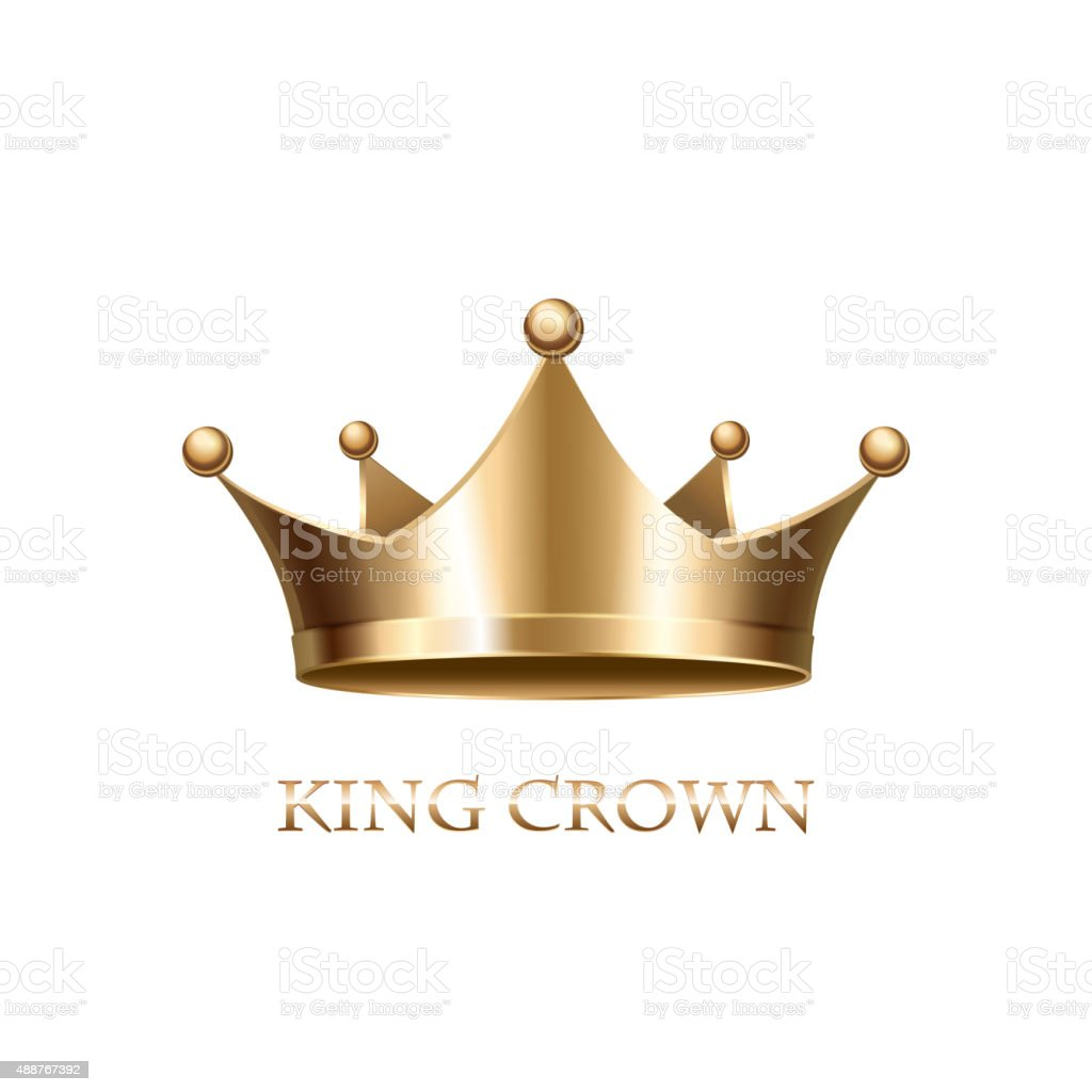 Gold Crown  Isolated On White Background vector art illustration