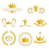 Gold crown logos and badges clip art vector set