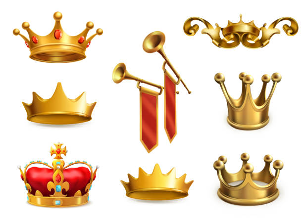 goldkrone des königs. 3d vektor icon-set - fanfare stock-grafiken, -clipart, -cartoons und -symbole