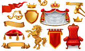 Gold crown of the king. Royal chair, mantle, pillow. 3d vector icon set