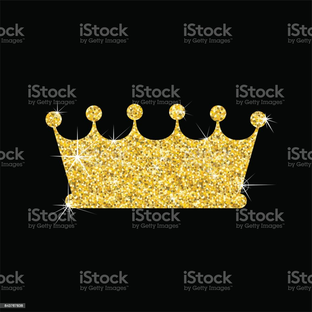 gold crown on black vector art illustration