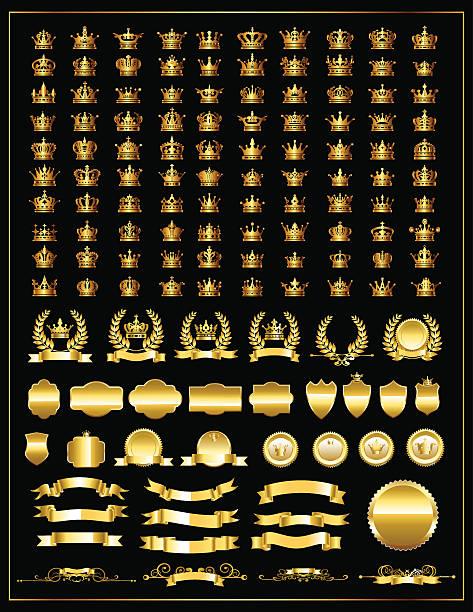 Gold crown set. Heraldry elements design - ilustración de arte vectorial